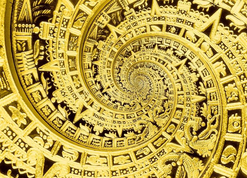 Fond aztèque de conception de décoration de modèle d'ornement de spirale traditionnelle antique antique noire d'or Desig étranger images libres de droits