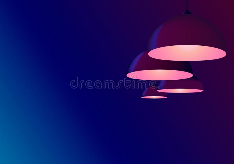 Fond azuré bleu au néon de résumé Appareil d'?clairage de plafond Lampes accrochant dans le café ou le bureau ci-dessus de billar illustration de vecteur
