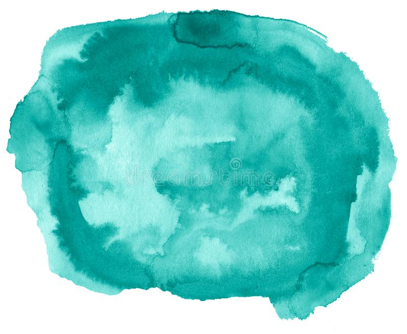 Fond azur? d'abr?g? sur aquarelle de mer, tache, peinture d'?claboussure, tache, divorce Peintures de cru pour la conception et l illustration libre de droits