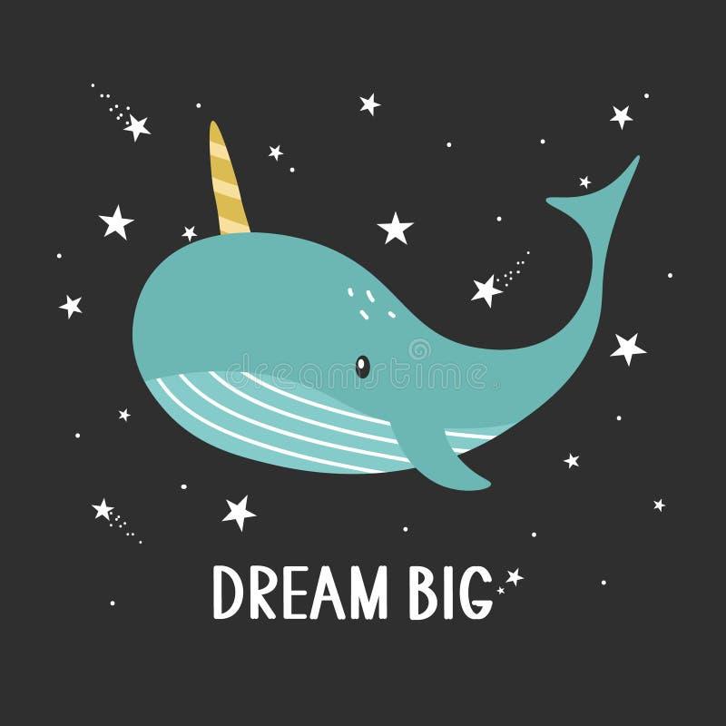 Fond, baleine et texte Grand rêveur illustration de vecteur