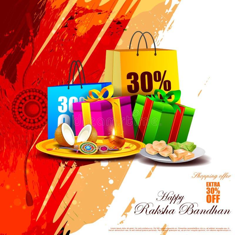 Fond bandhan de promotion des ventes d'achats de Raksha pour le festival indien illustration libre de droits