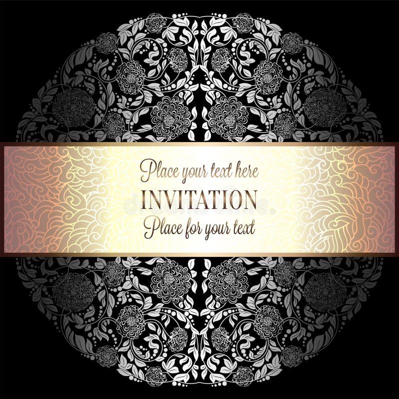 Fond baroque avec le cadre antique et de luxe d'argent, noir et gris de cru, bannière victorian, ornements de papier peint floral illustration stock
