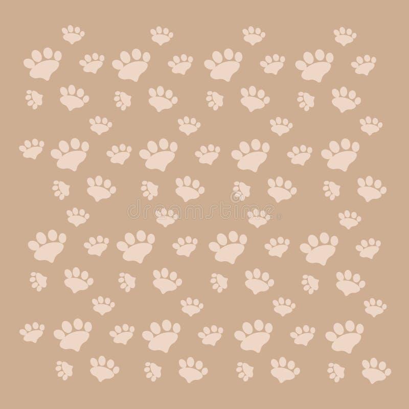 Fond beige avec des pattes d'animal familier illustration libre de droits