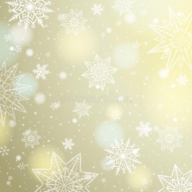 Fond beige clair avec des flocons de neige et des étoiles illustration libre de droits