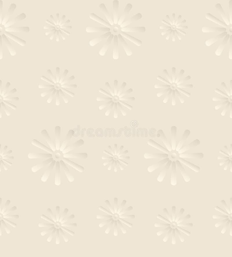 Fond beige sans couture avec Daisy Flowers illustration de vecteur