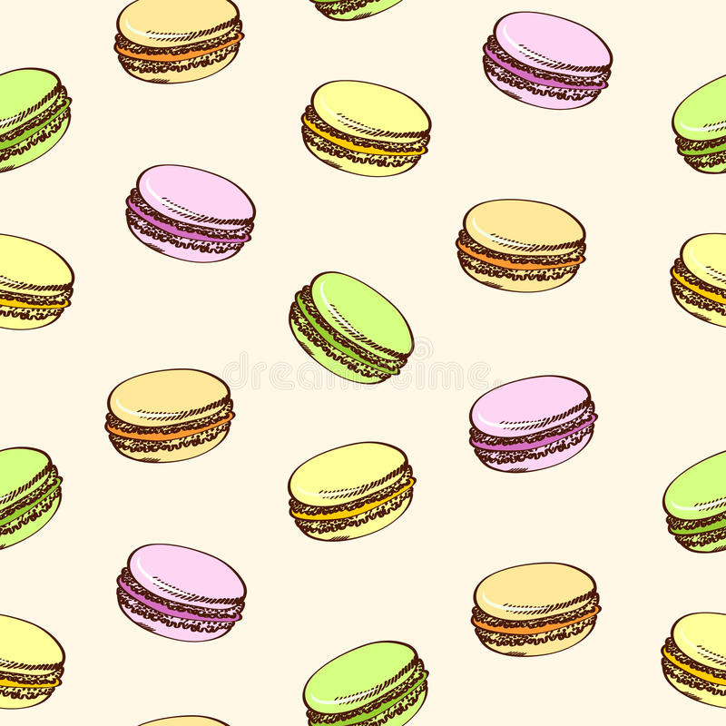 Fond beige sans couture avec les macarons colorés Type de dessin animé illustration stock