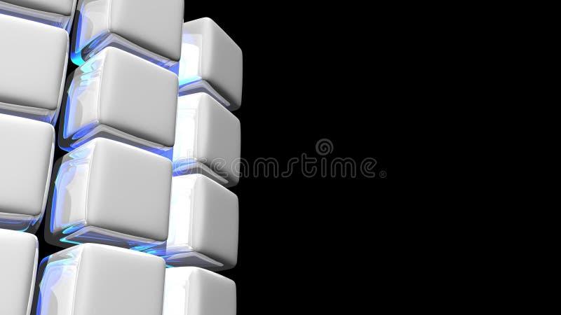 Fond blanc abstrait de cube avec la lumière bleue illustration libre de droits