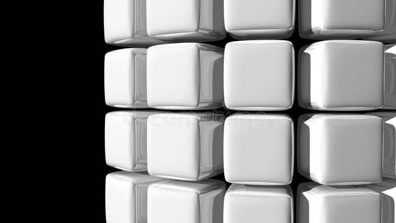 Fond blanc abstrait de cube avec une courbe illustration stock