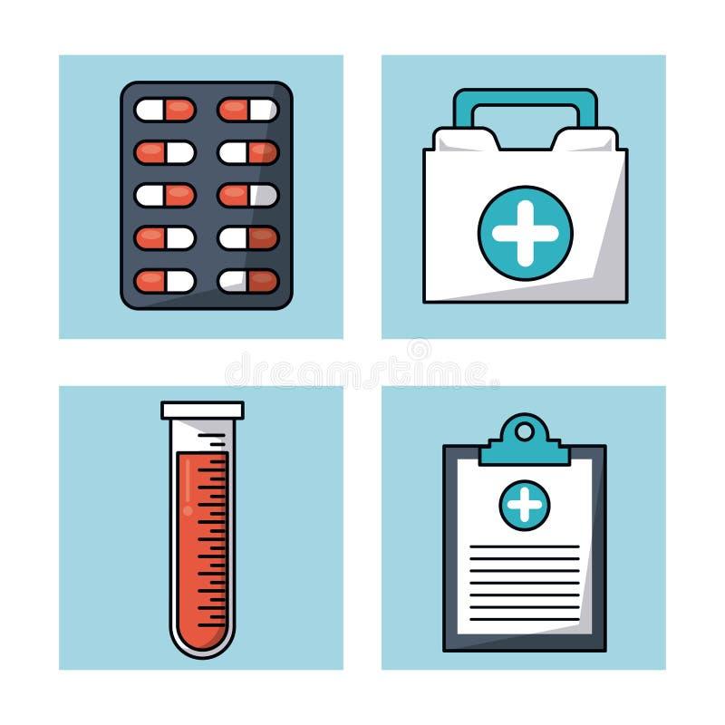 Fond blanc avec des cadres avec le tube de pilules et de kit et à essai de premiers secours et le bloc-notes médical illustration libre de droits