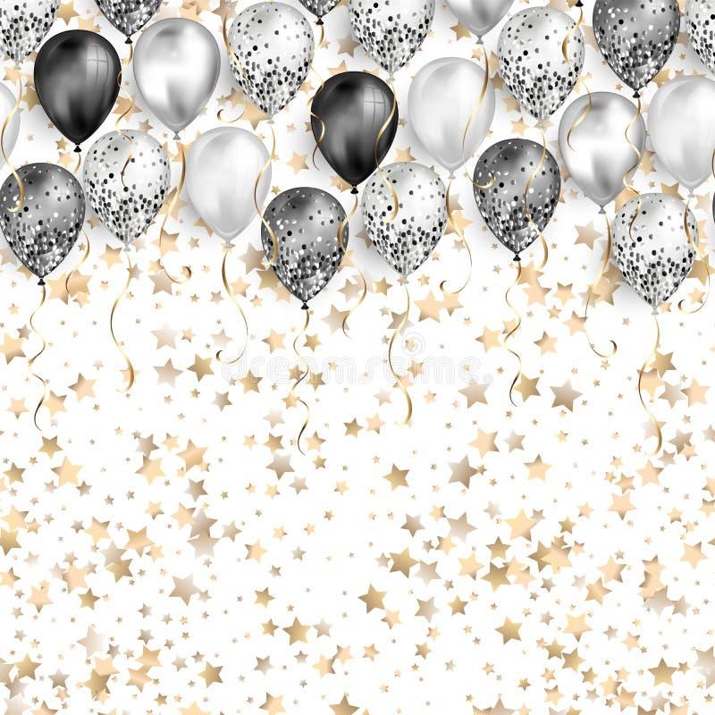 Fond blanc avec des confettis d'étoiles et des ballons noirs et blancs en tant que frontière supérieure Réaliste brillant brillan illustration libre de droits