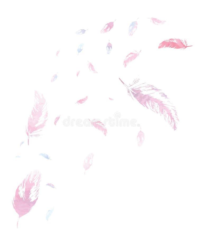 Fond blanc avec des plumes d'aquarelle photos libres de droits