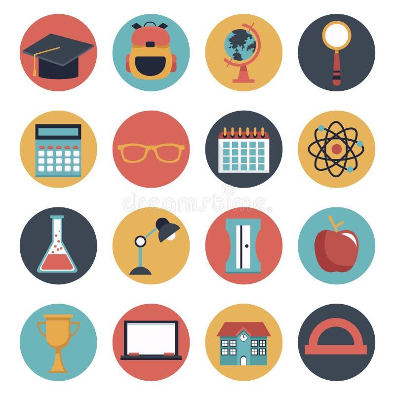 Fond blanc avec l'ensemble d'éléments circulaires colorés d'école d'icônes de cadre illustration de vecteur
