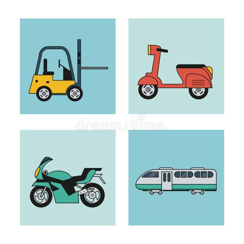 Fond blanc avec l'ensemble de place de véhicules de scooter de moto de chariot élévateur de transport et de chariot de train illustration stock