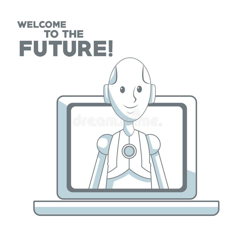 Fond blanc avec l'ombrage de sections de couleur de silhouette du robot humain laissant à l'accueil d'ordinateur portable et de t illustration stock