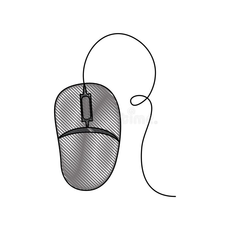 Fond blanc avec la silhouette colorée de crayon de la souris d'ordinateur illustration libre de droits