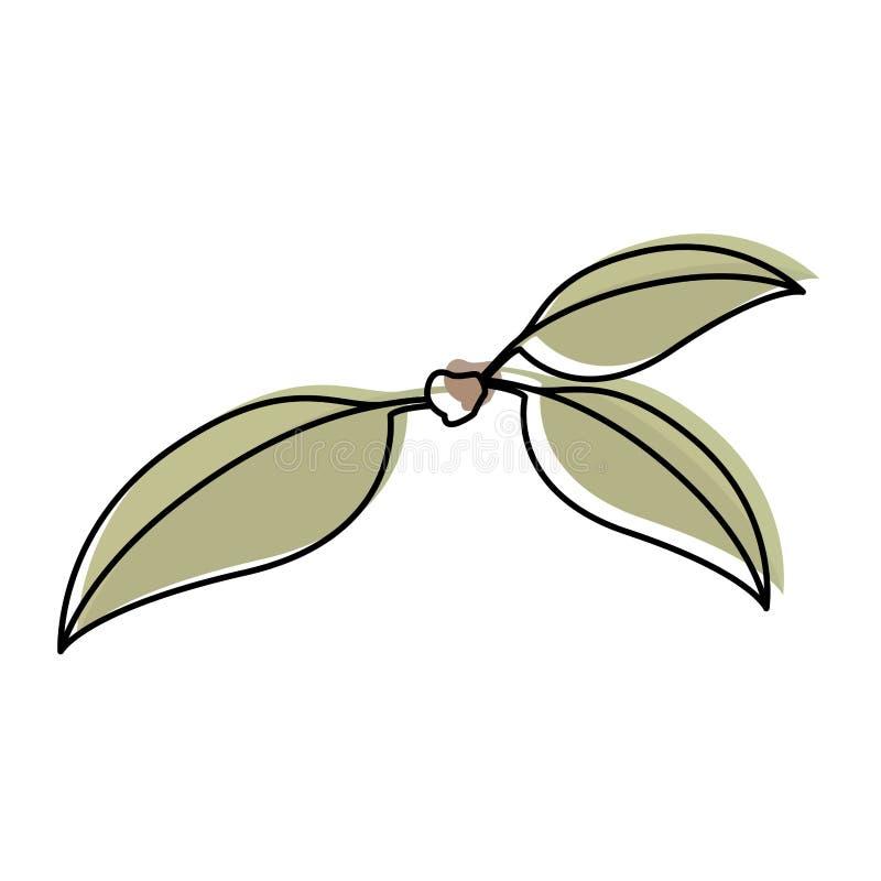 Fond blanc avec la silhouette d'aquarelle de trois feuilles vertes de cerise de tige illustration libre de droits