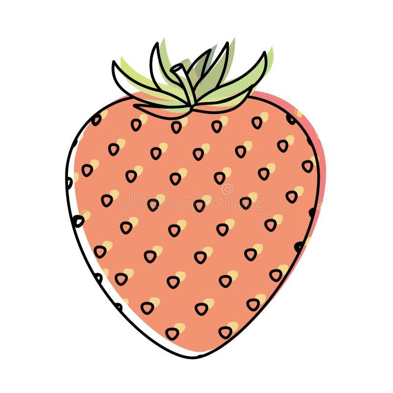 Fond blanc avec la silhouette d'aquarelle du fruit de fraise de tige illustration de vecteur