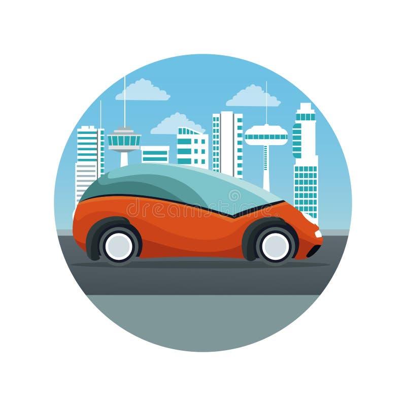 Fond blanc avec la silhouette futuriste de paysage de ville de cadre circulaire avec le véhicule orange coloré de voiture illustration stock
