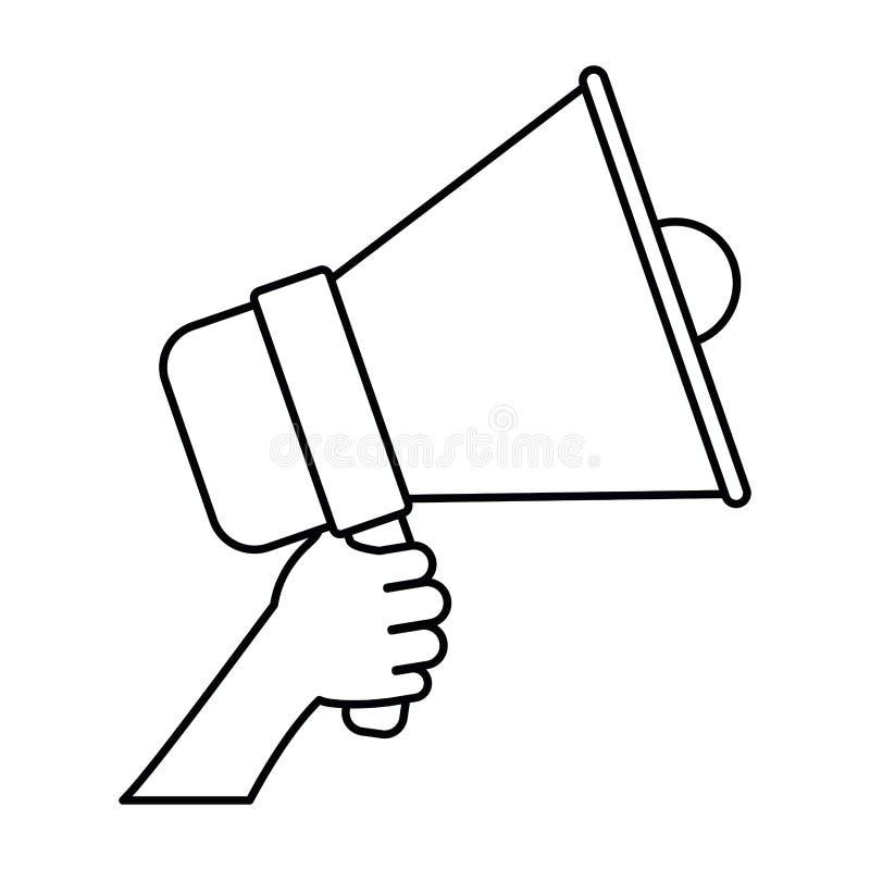 Fond blanc avec la silhouette monochrome de la main tenant le dispositif sain illustration stock