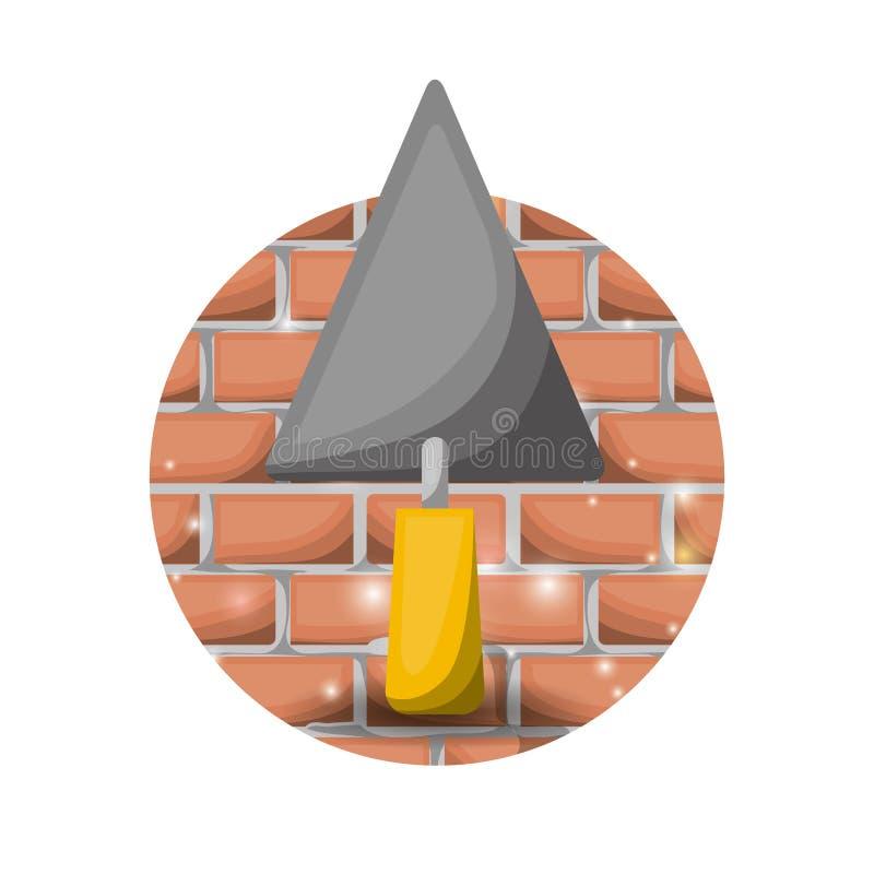 Fond blanc avec la spatule circulaire de mur de briques et de truelle illustration libre de droits