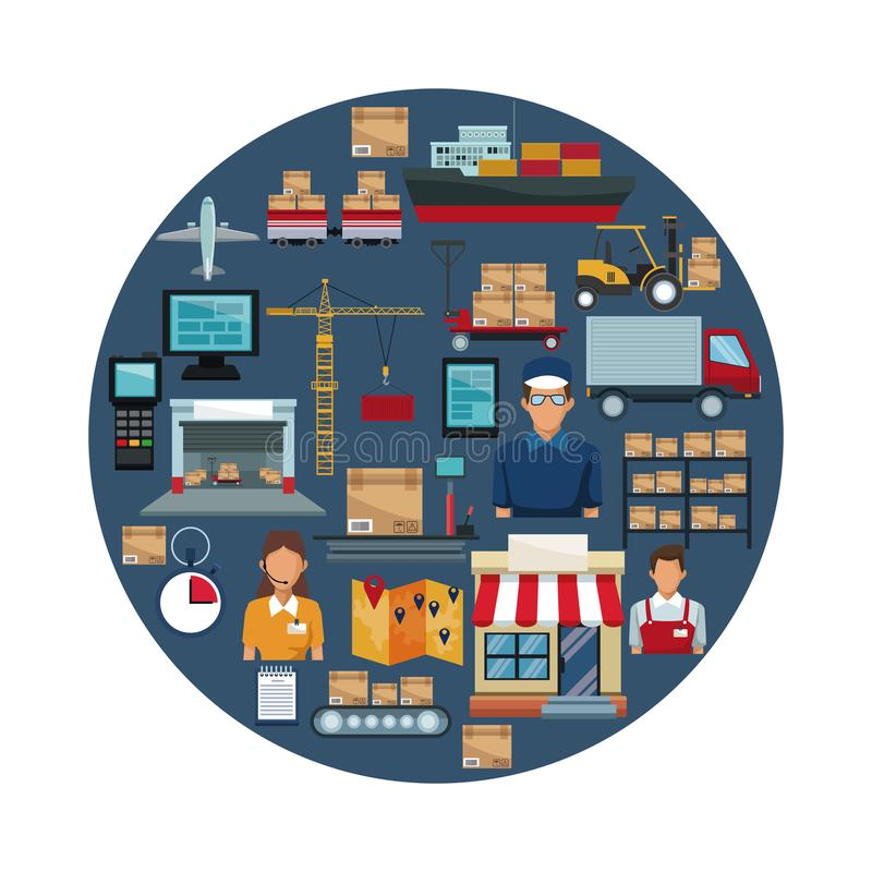 Fond blanc avec le cadre circulaire coloré de la logistique de stockage d'icônes à l'intérieur illustration de vecteur