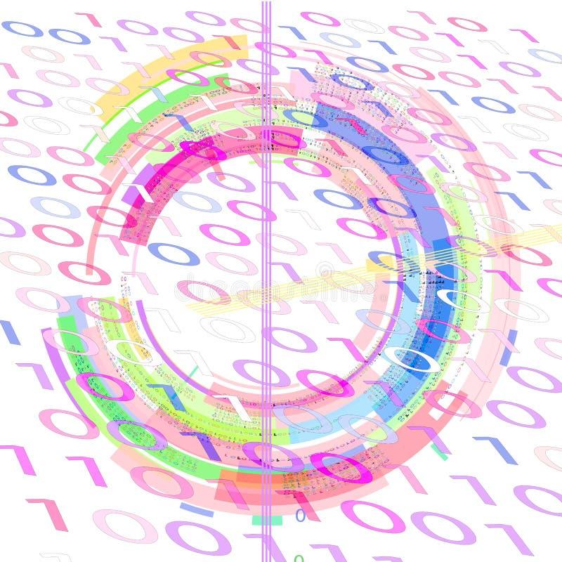 Fond blanc avec le code binaire et les formes géométriques de différentes couleurs illustration stock