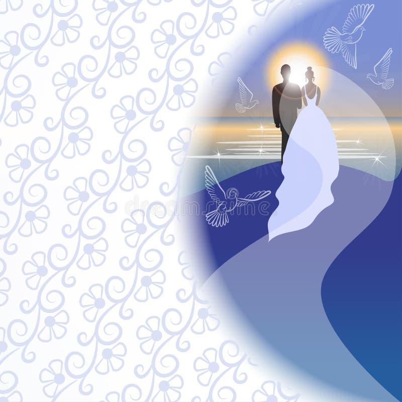 Fond blanc avec le jeune marié, la jeune mariée, les pigeons, la mer, le soleil et le lever de soleil illustration de vecteur