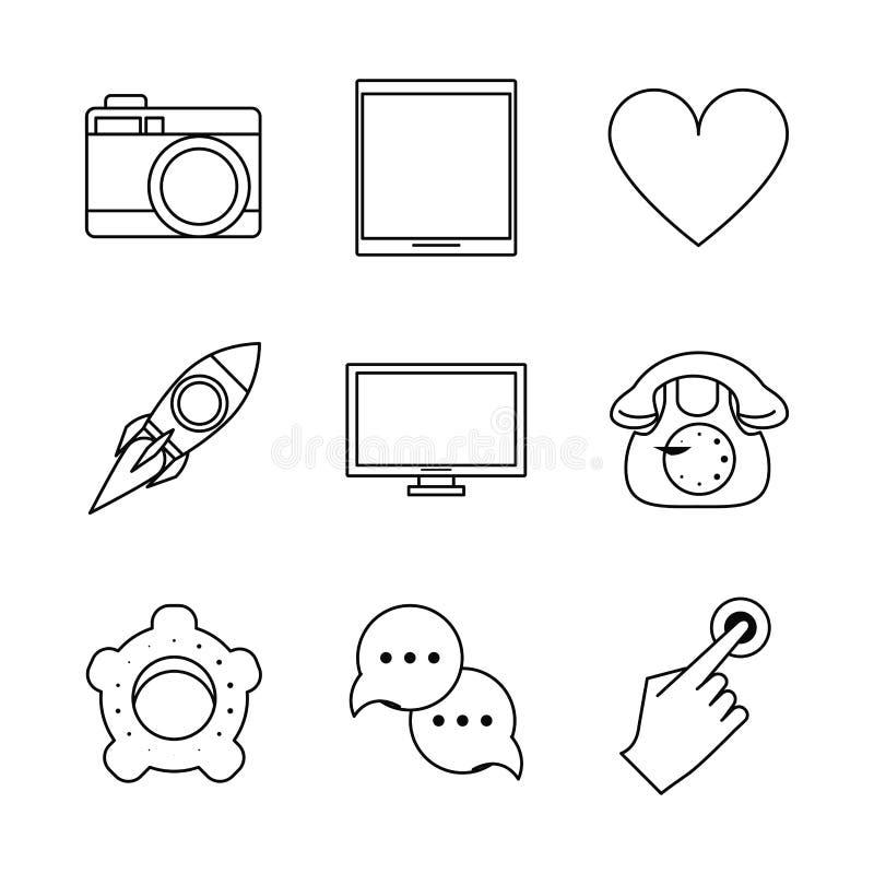 Fond blanc avec les icônes noires de silhouette du media social illustration de vecteur