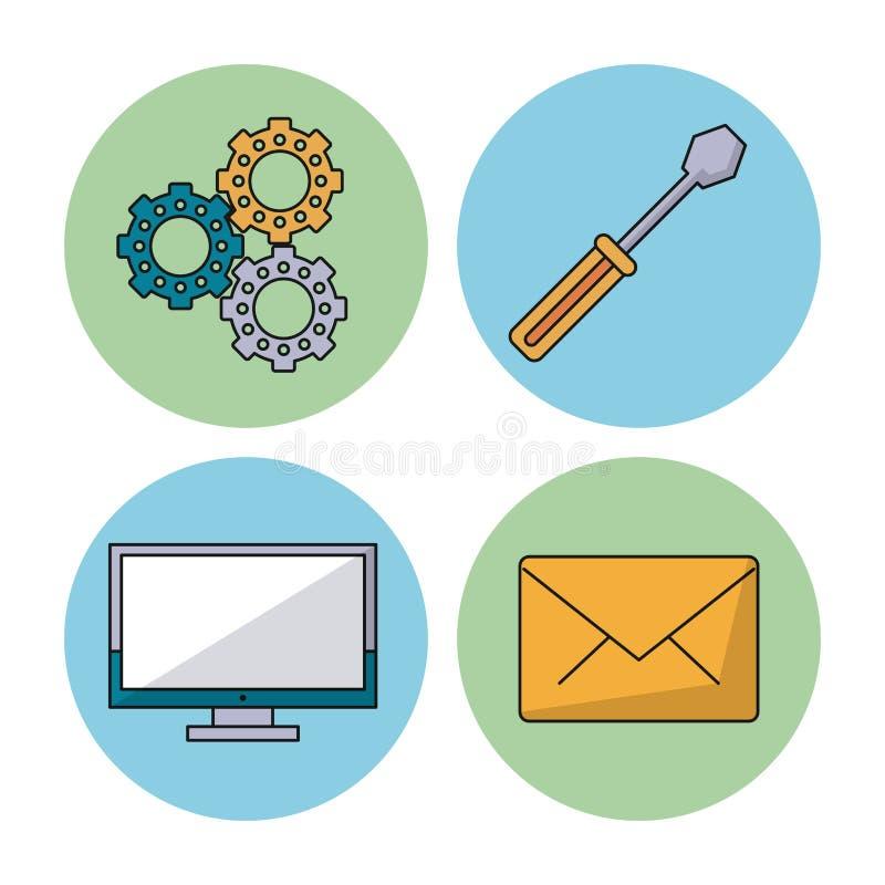 Fond blanc avec les sphères colorées avec les pignons réglés et le tournevis et le moniteur et le courrier d'affichage à cristaux illustration stock