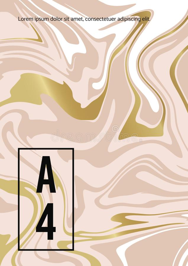Fond blanc d'or abstrait de marbre de rose Texture de vecteur de la peinture liquide Calibre pour ?pouser, invitations illustration stock