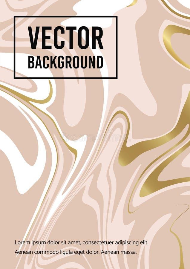 Fond blanc d'or abstrait de marbre de rose Texture de vecteur de la peinture liquide Calibre pour ?pouser, invitations illustration libre de droits