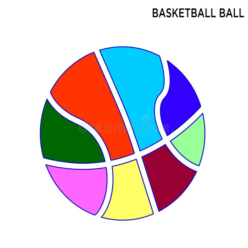 Fond blanc d'icône de boule de basket-ball illustration stock