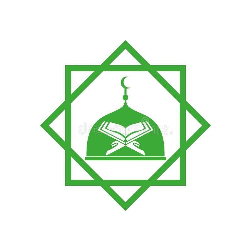 Fond blanc d'icône de vecteur de mosquée et de kuran illustration stock