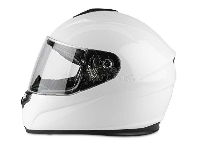 Fond blanc d'isolement intégral de casque antichoc de carbone blanc de moto concept de emballage de sécurité de transport de kart images libres de droits