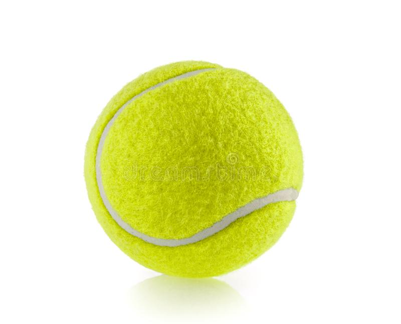 Fond blanc d'isolement par balle de tennis - photographie photos stock