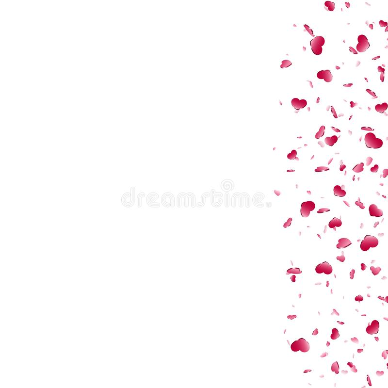 Fond blanc d'isolement par confettis en baisse de coeur Coeurs rouges de chute D?coration de Valentine Day Conception d'?l?ment d illustration de vecteur