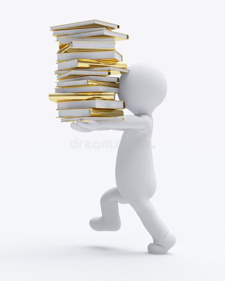 Fond blanc d'isolement par image de transport des livres d de petites personnes de D illustration de vecteur