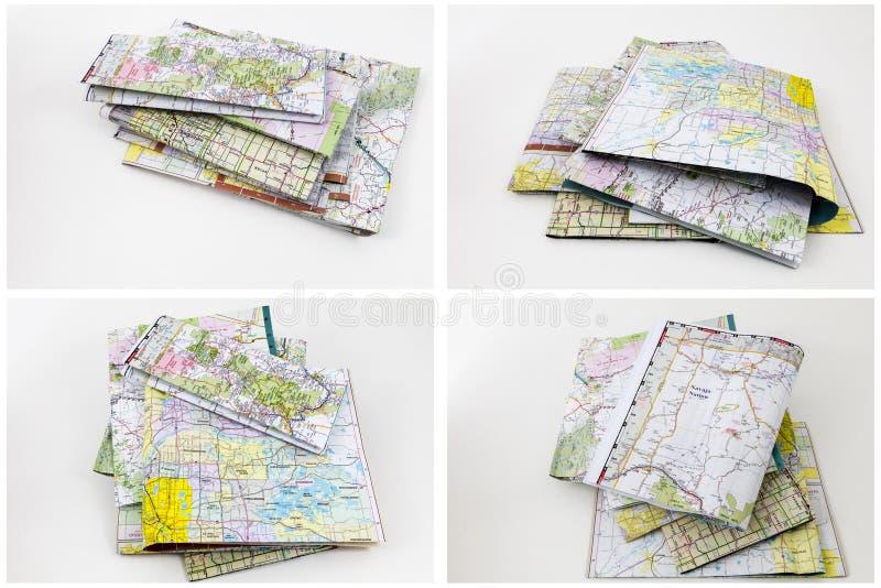 Fond blanc d'isolement par pile de cartes de route image stock