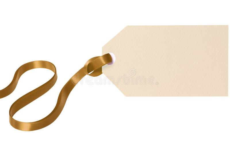 Fond blanc d'isolement par ruban d'or d'étiquette de cadeau de label photos libres de droits