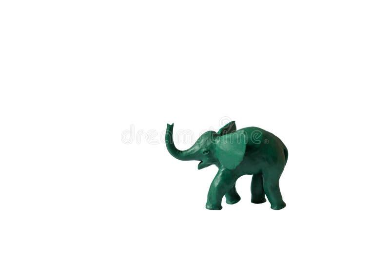 Fond blanc d'isolement par vert d'éléphant de pâte à modeler image libre de droits