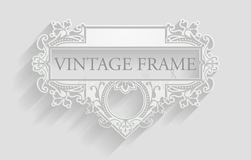 Fond blanc de cadre de vintage illustration libre de droits