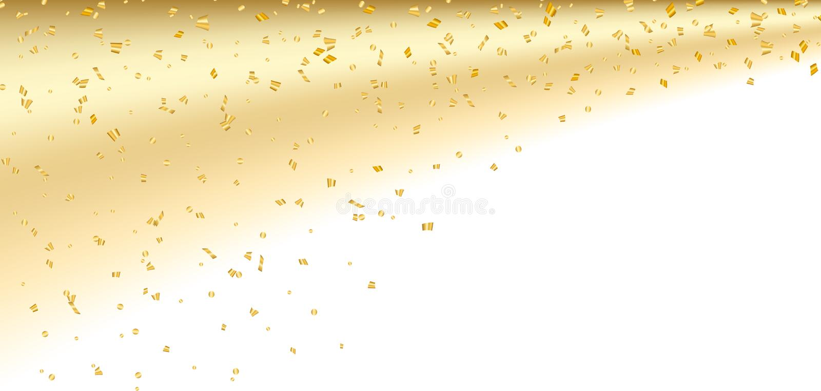 Fond blanc de confettis d'or illustration stock