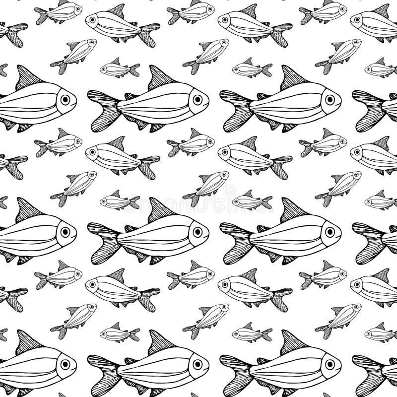 Fond blanc de grand et petit modèle de poissons d'isolement illustration de vecteur
