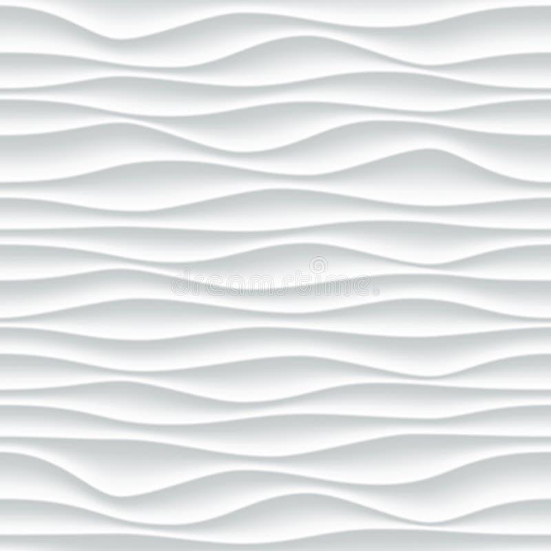 Fond blanc de l'abrégé sur 3D vecteur de modèle de vague illustration libre de droits