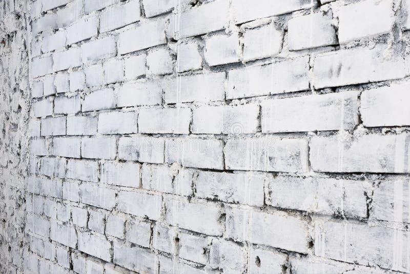Fond blanc de mur de briques dans la perspective photographie stock