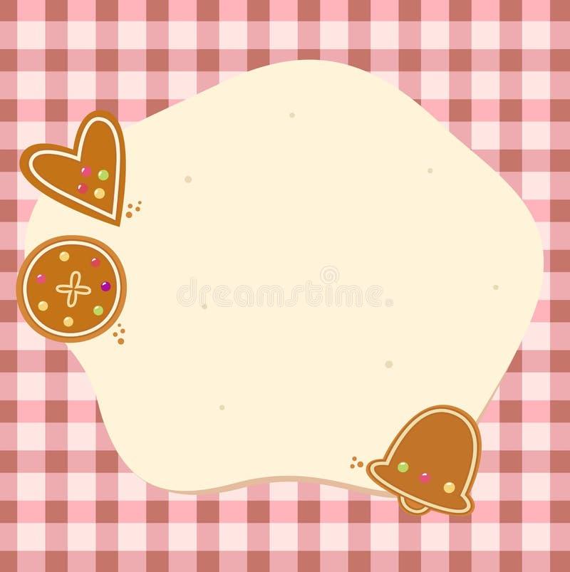 Fond blanc de Noël avec la pâte et les biscuits illustration libre de droits