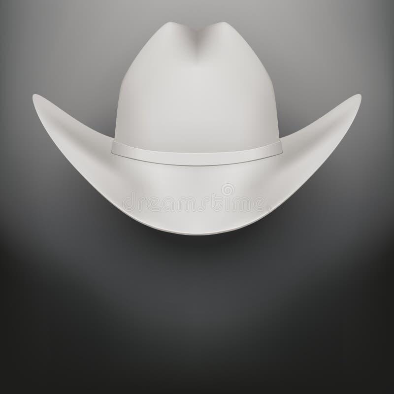 Fond blanc de vecteur de chapeau de cowboy illustration stock