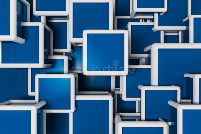 Fond blanc et bleu de cubes illustration stock