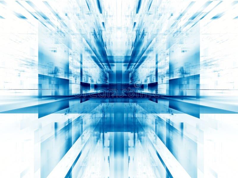 Fond blanc et bleu de technologie de concept - le résumé a digitalement produit de l'image illustration de vecteur