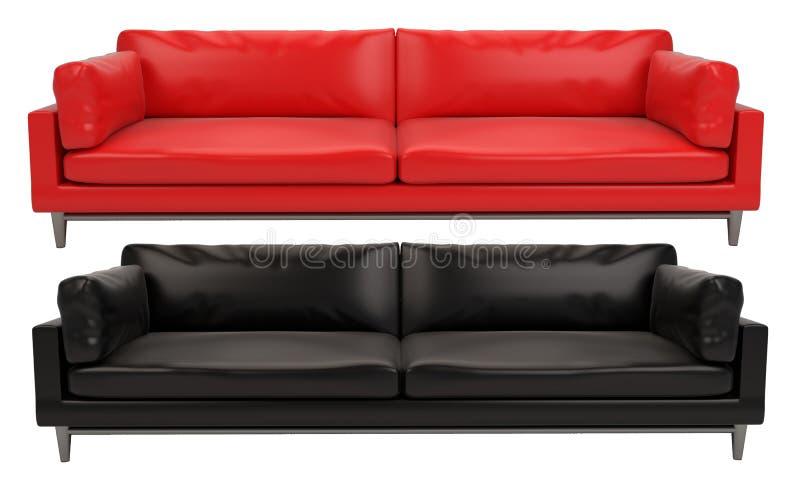 Fond blanc et noir de sofa en cuir rouge et noir photo stock